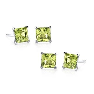 Sterling Silver Princess-cut Peridot 2-pair Stud Earrings Set