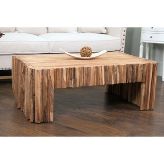 Decorative Lakeside Modern Tan Rectangle Coffee Table