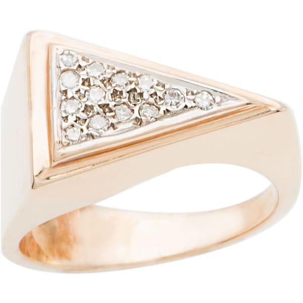 14k Rose Gold 1/7ct TDW Diamond Triangle Top Estate Ring (I-J, SI1-SI2)