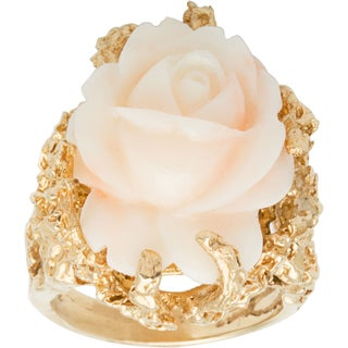 14k Yellow Gold Carved Coral Rose Estate Cocktail Ring (Size 8)