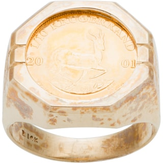 14k Yellow Gold 1/10 oz Krugerrand Estate Coin Ring (Size 8.5)