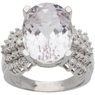 14k White Gold 1ct TDW Diamond Giant Kunzite Estate Cocktail Ring (G-H, SI3)