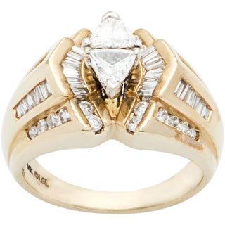14k Yellow Gold 1 1/2ct TDW Diamond Triangle Diamonds Engagement Ring (H-I, SI1-SI2)