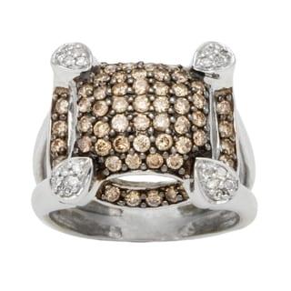 10k White Gold 1 1/4ct TDW Diamond Pave Top Brown Estate Ring (Brown, I1-I2)