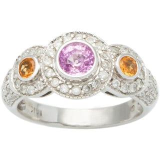 14k White Gold 3/4ct TDW Diamond Pink Sapphire and Topaz Estate Ring (I-J, I1-I2)