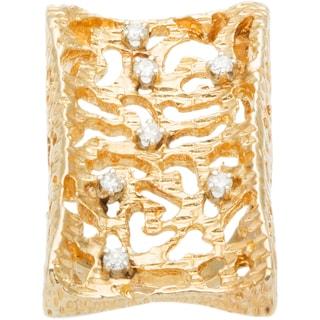 14k Yellow Gold 1/3ct TDW Diamond Giant Nugget Style Estate Ring (I-J, SI1-SI2)