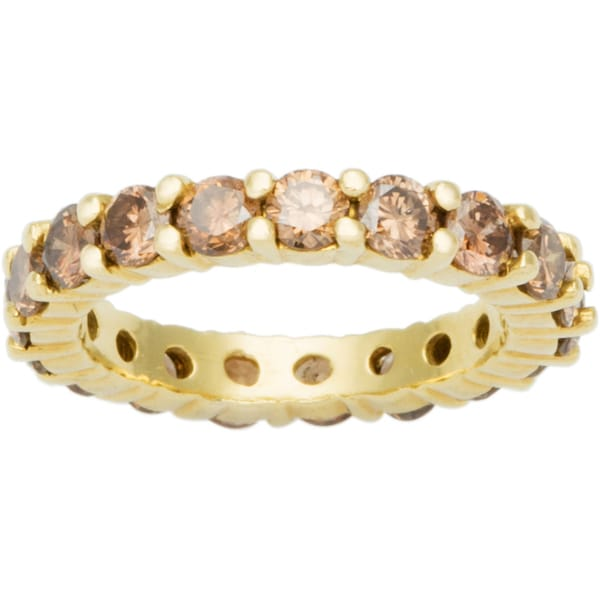 18k Yellow Gold 2 1/2ct TDW Champagne Diamond Eternity Band Ring (Champagne, VS1-VS2)