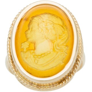 14k Yellow Gold Reverse Rosanna Amber Cameo Estate Ring