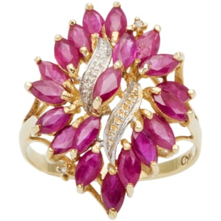 14k Yellow Gold Clustered Rubies Estate Ring