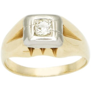 14k Yellow Gold 1/7ct TDW Diamond Solitaire Estate Ring (H-I, SI1-SI2)