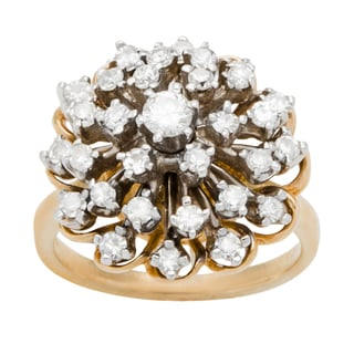 14k Yellow Gold 3/4ct TDW Diamond Starburst Estate Ring (G-H, SI1-SI2)