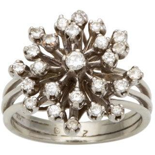 14k White Gold 2/5ct TDW Diamond Starburst Estate Ring (H-I, SI1-SI2)