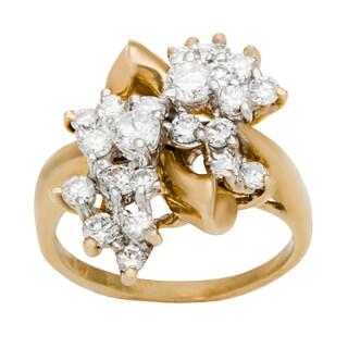 14k Yellow Gold 1 1/2ct TDW Diamond Swirl Cluster Ring (G-H, VS1-VS2)