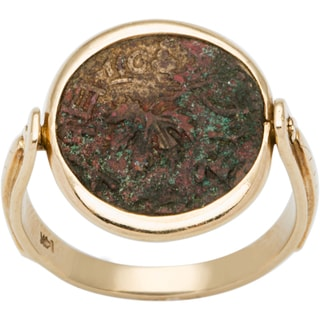 14k Yellow Gold Antique Rotating Coin Ring (Size 9)