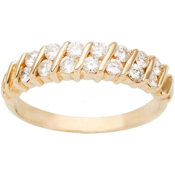 14k Yellow Gold 1/3ct TDW Diamond Two-row Half Eternity Ring (H-I, SI1-SI2)