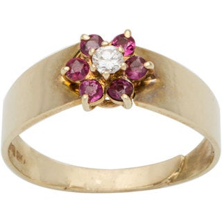 14k Yellow Gold 1/12ct TDW Diamond and Ruby Estate Ring (G-H, VS1-VS2)