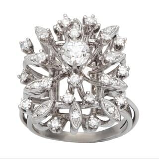14k White Gold 1ct TDW Diamond Clustered Estate Cocktail Ring (G-H, VS1-VS2)