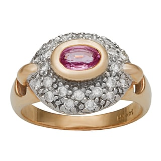 14k Yellow Gold 1/3ct TDW Diamond and Pink Sapphire Estate Ring (H-I, SI1-SI2)