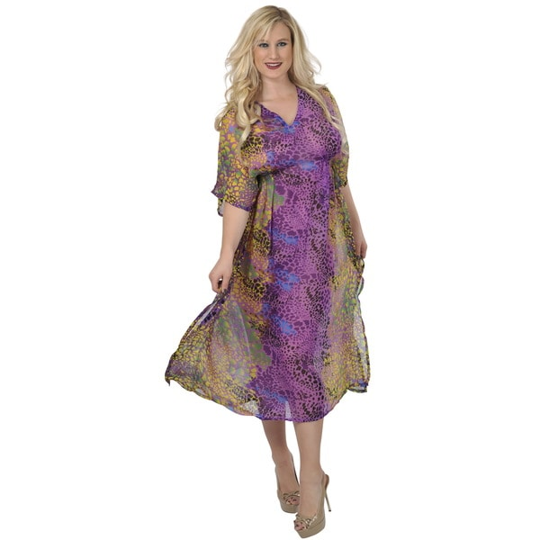 La Leela Women's Sheer Chiffon Purple Animal Print Long Tube Tunic