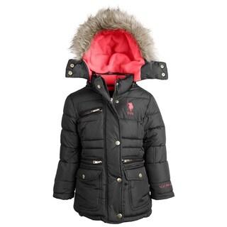 U.S. Polo Assn. Big Girls Down Alternative Fleece Lined Winter Puffer Parka Coat
