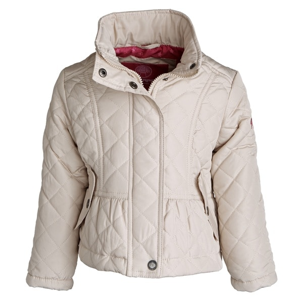 Weatherproof Little Girls Padded Quilted Fully Lined Jacket with Detachable Hood