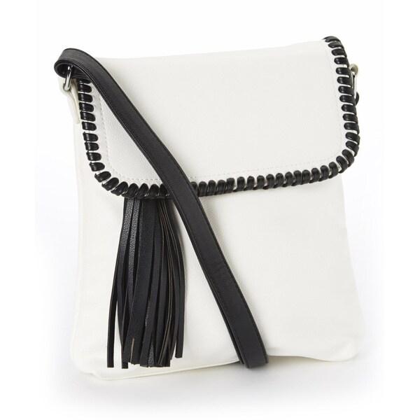 Amtal Side Tassel Whip Stitched Crossbody Bag