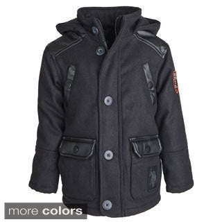 USPA Little Boys Wool Feel and Leather Classic Winter Jacket with Quilted Lining