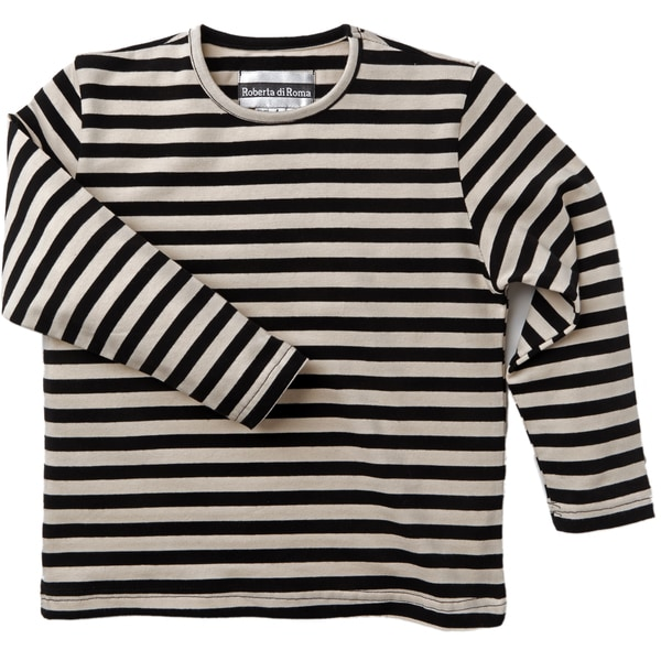 Roberta Di Roma Big Girls Cotton Knit Jersey Striped T-shirt