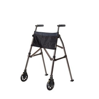Stander EZ Fold-N-Go Walker Folding Travel Walker with Locking-swivel Wheels and Organizer Pouch