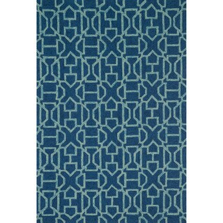 Hand-hooked Indoor/ Outdoor Capri Navy/ Aqua Rug (5'0 x 7'6)