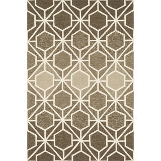 Hand-hooked Indoor/ Outdoor Capri Brown/ Beige Rug (7'6 x 9'6)