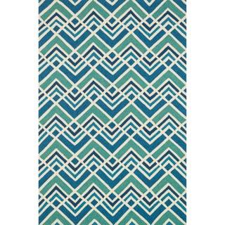 Hand-hooked Indoor/ Outdoor Capri Sea Blue Rug (3'6 x 5'6)