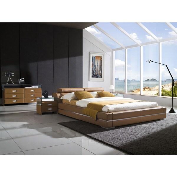 Firenze Modern Saddle Brown Platform Bed