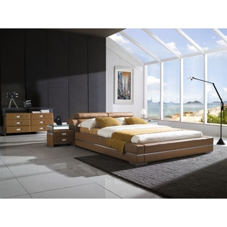 Firenze Modern Saddle Brown Platform Bed