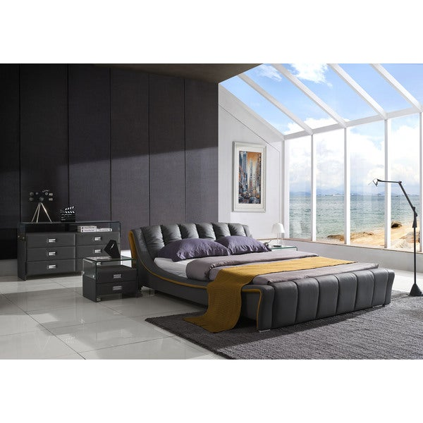 Verona Modern Graphite Grey Platform Bed