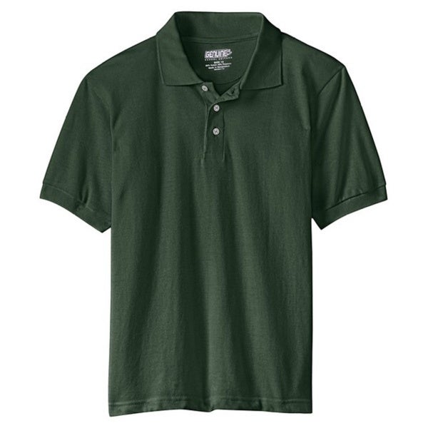 Genuine School Uniform Children's Green Unisex Short Sleeve Pique Polo Shirt