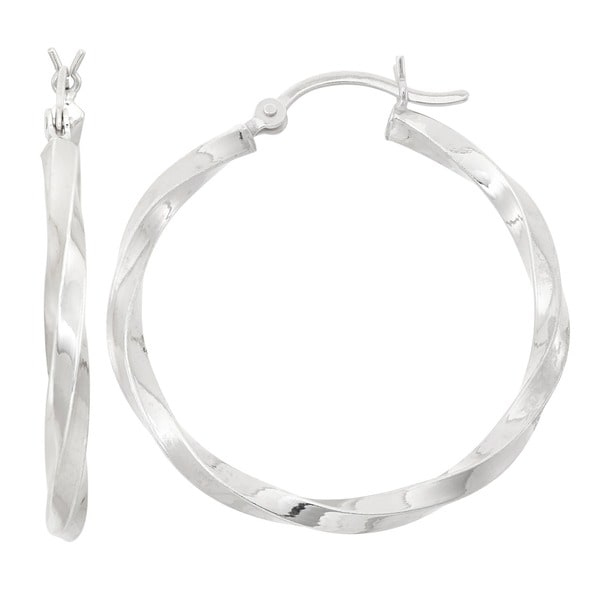Gioelli Sterling Silver Thick Twisted Hoop Earrings