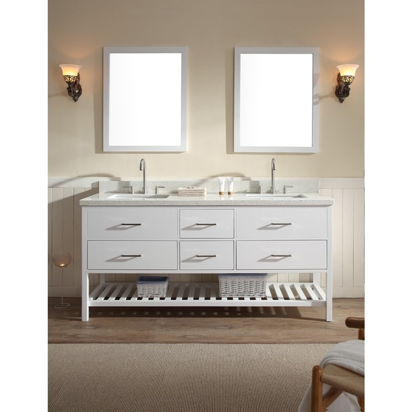 Shakespeare 73-inch Double Sink Vanity Set in White