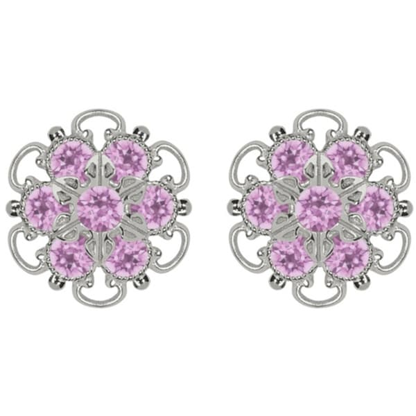 Lucia Costin Silver/ Lilac Crystal Earrings