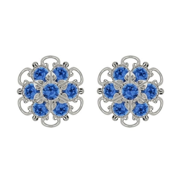 Lucia Costin Silver/ Blue Crystal Earrings 15318992
