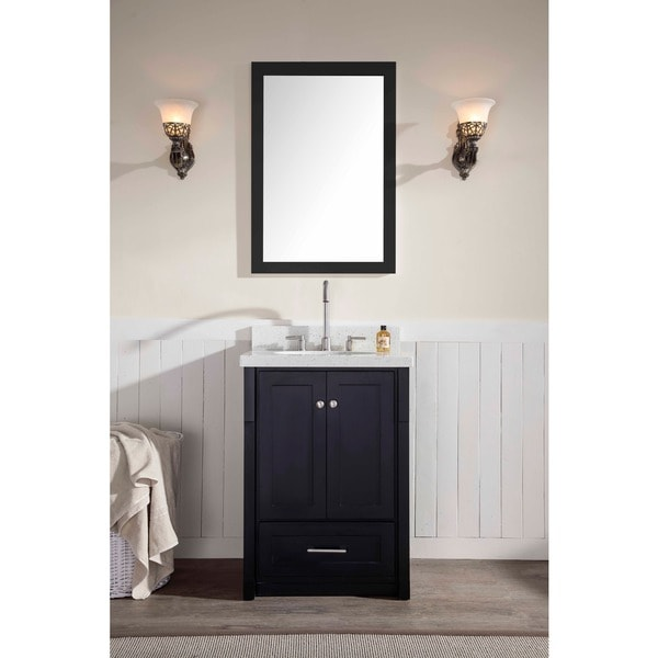 30 inch contemporary style black finish single sink bathroom vanity