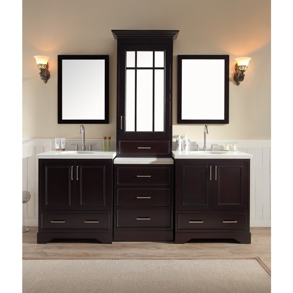 Ariel Stafford 85 Inch Double Sink Espresso Vanity Set