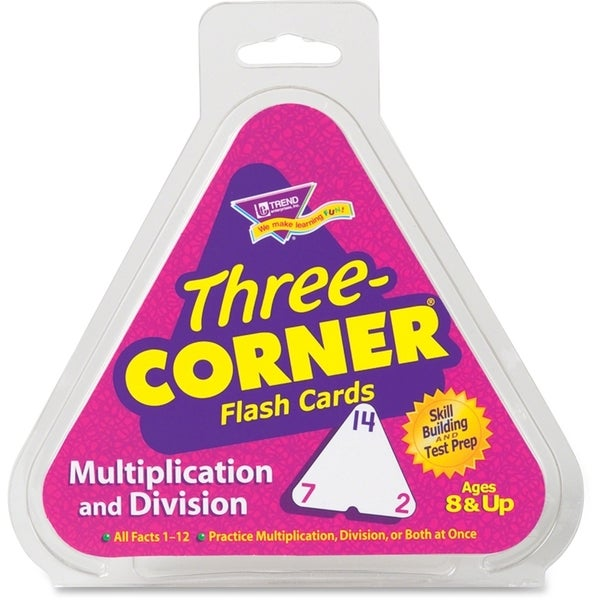 TREND Multiplication/Division Three-Corner Flash Cards (2 Packs of 48 Flash Cards)