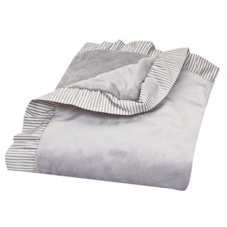 Trend Lab Dove Grey Ruffle Stripe Trimmed Receiving Blanket