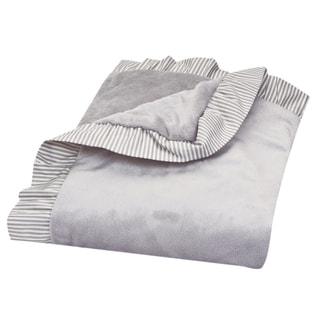 Trend Lab Dove Grey Ruffle Stripe Trimmed Receiving Blanket