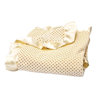 Trend Lab Banana Cream Delightful Dot Velour and Satin Receiving Blanket