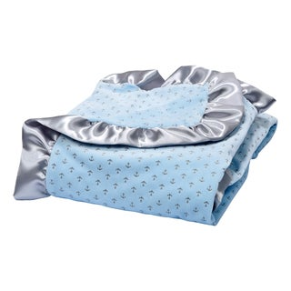 Trend Lab Skyway Blue Petite Anchors Velour and Satin Receiving Blanket