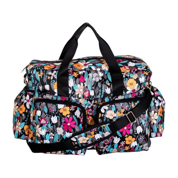 Trend Lab Turquoise Floral Deluxe Duffle Diaper Bag