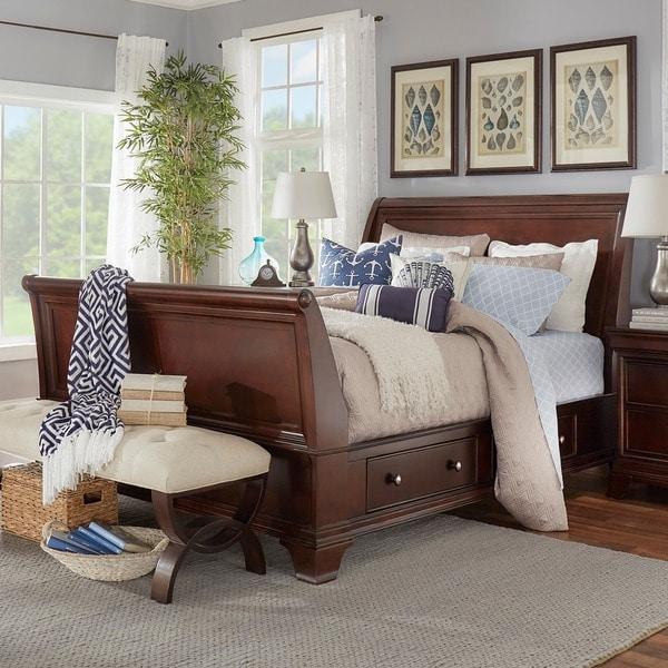 Caden Cherry Sleigh Style Platform Bed with 2-drawer Storage