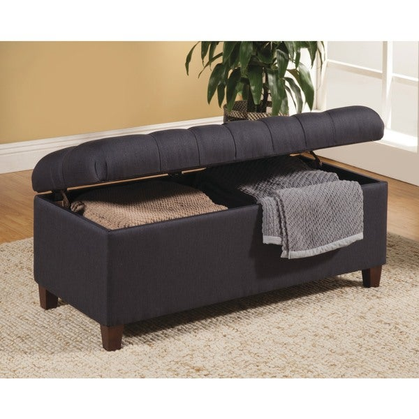 Lankary Dark Navy Tufted Storage Ottoman/ Bench